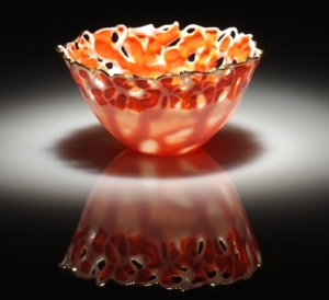 Translucent, orange  bowl in Porcelain paperclay by Antonella Cimatti