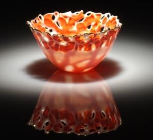 Translucent, orange  bowl in Porcelain paperclay by Antonella Cimatti