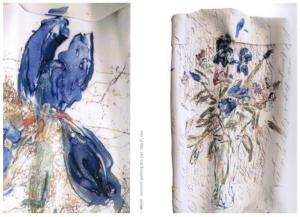 Image of iris flower transfered on ceramic slab with silkscreen print technique