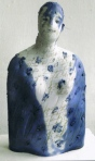 torso on porcelain, decorated in blue with silkscreenprint and writing overlay. Sculpture by Maria Geszler-garzulòy