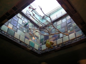 skylight covered with coloured tiles