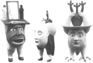 Three pots in the shape of monstruous figures with hughe heads, made of ceramics by Federico Bonaldi