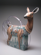 Sculpture of a deer in clay with meaningful surface decoration and elements that make it an ironic work of art with ecological critique.