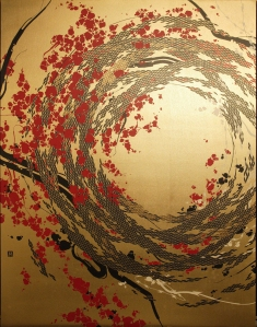 Silkscreen print shoving a vortex in black and red