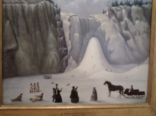 Painting of an iced up waterfall in Canada