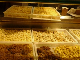 Fresh pasta and fresh bread, prepared at the minute at the first floor of the  Florence Central Market.