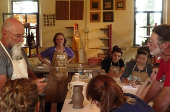 Study abroad group of Austin Peay State University in the Ceramic studios of La Meridiana