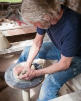 Svend Bayer on one of  his kickwheel