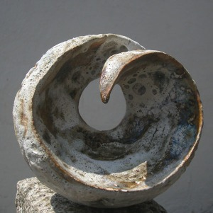 Sculptural ceramic spiral form